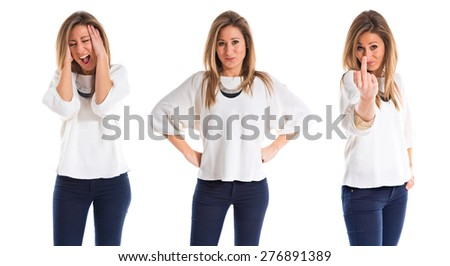 Set images of frustrated woman - stock photo