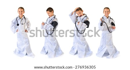 Set images of kid dressed like doctor doing surprise gesture - stock photo