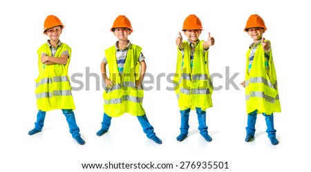 Set images of kid dressed like worker with thumb up - stock photo
