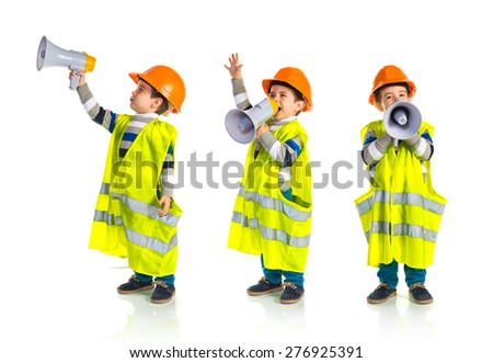 Set images of kid dressed like workman shouting by megaphone - stock photo