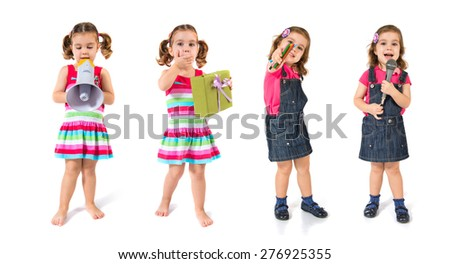 Set images of kid holding a present, megaphone, and microphone - stock photo