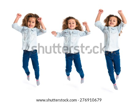 Set images of little girl jumping over white background