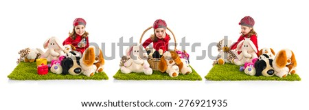 Set images of little girl playing with stuffed animals - stock photo