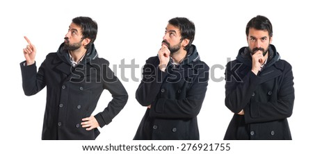 Set images of man thinking over white background