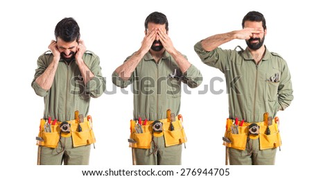 Set images of mechanic covering his eyes and ears - stock photo