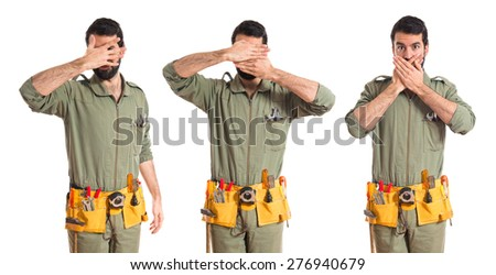 Set images of mechanic covering his face  - stock photo