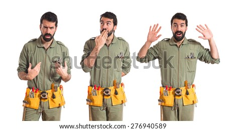 Set images of mechanic doing surprise gesture  - stock photo