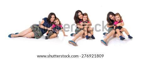 Set images of mother and daughter - stock photo