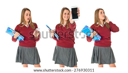 Set images of student talking to mobile - stock photo