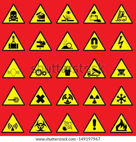 Set Images Warning Sign Danger Symbols Stock Illustration 149197967