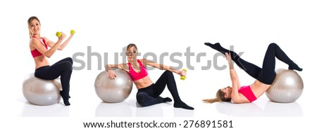 Set images of woman doing sport with fitball  - stock photo