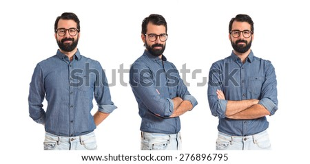Set images of young hipster man with his arms crossed - stock photo