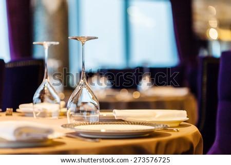 set in restaurant - stock photo