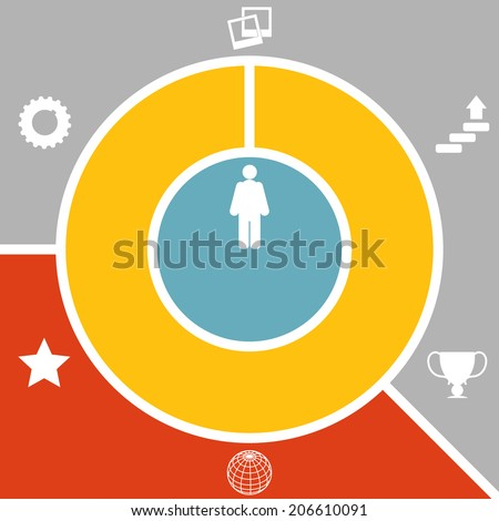 Set infographic style successful person.  Raster copy