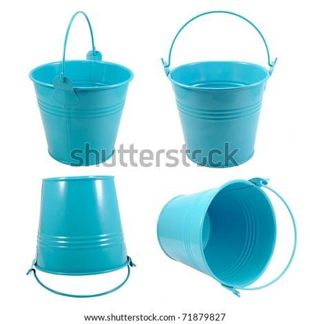 Set isolated blue metal bucket with handle - stock photo