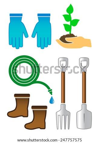 set isolated gardening color tools on white background - stock photo