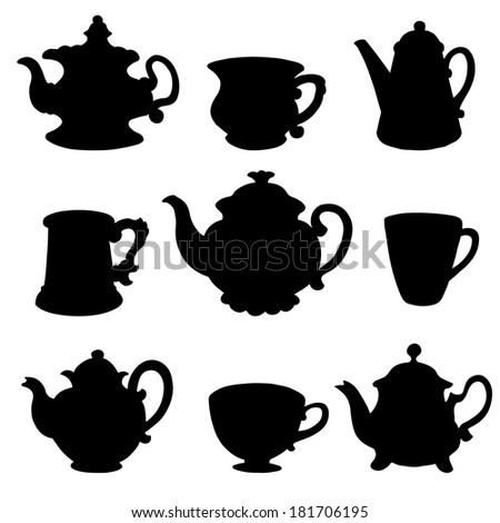 Set isolated icon black silhouette kettles, teapots, coffee pot, cups, mugs. Abstract design logo. Logotype art - raster version - stock photo