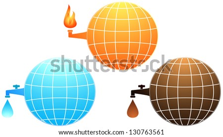 set isolated icon with planet resources - petroleum, water and gas fire - stock photo