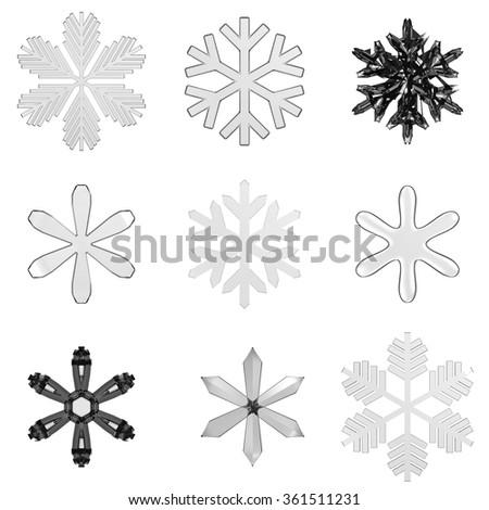 Set isolated transparent snowflakes on white - stock photo