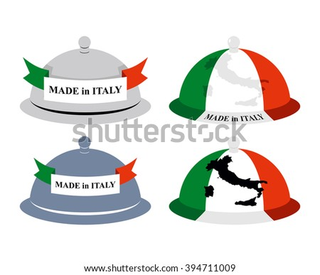 Set kitchen Cloche Italian. Cover for hot dishes with map of Italy. Accessory of Italian cooks. Subject of tableware. Iron cover and plate for eating. - stock photo