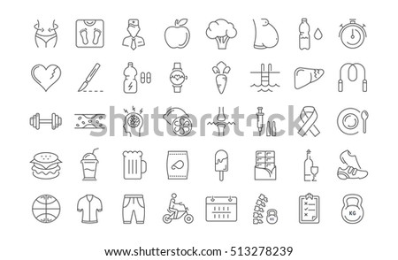 Line Circle Bbq Icons Set Vector Stock Vector 472932571