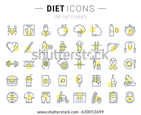 Set line icons in flat design Slimming, Healthy Food and Diet with elements for mobile concepts and web apps. Collection modern infographic logo and pictogram. Raster version.