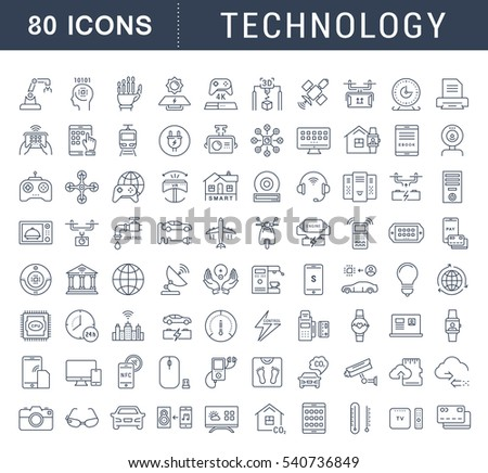 Set  line icons in flat design technology, electric car, smart city, house , internet of things, online payment. Elements for mobile concepts. Collection modern infographic logo. Raster version.