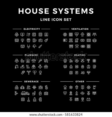 Set line icons of house systems isolated on black
