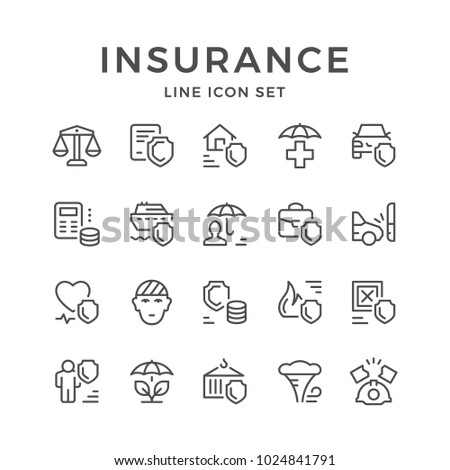Set line icons of insurance isolated on white