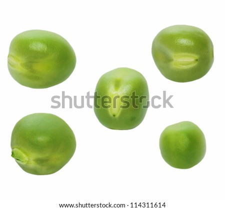 set macro fresh green peas isolated on white background, clipping path