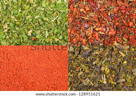 Set made of 4 spise texture. For your choise. - stock photo