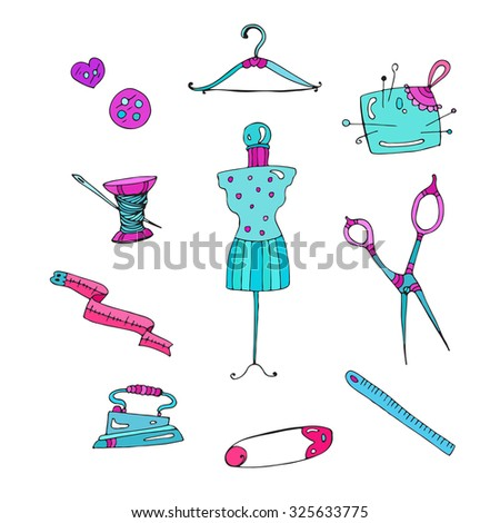 set magenta  and turquoise colors accessories for sewing . Various objects: buttons, thread, needle, measuring tape, hanger, mannequin, pin, pin cushion, scissors, ruler. On a white background - stock photo
