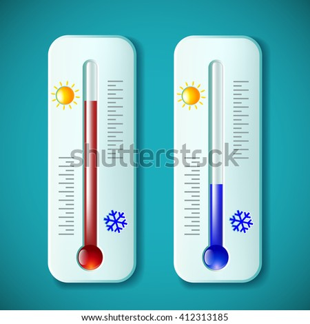 Set mercury thermometers. Heat and cold. Stock illustration. - stock photo