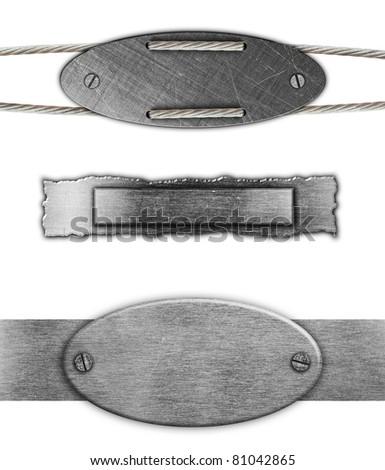 Set metal plate steel background. - stock photo