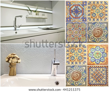 Set. Modern style of washbasin in the bathroom and the kitchen, and Portuguese tile - stock photo