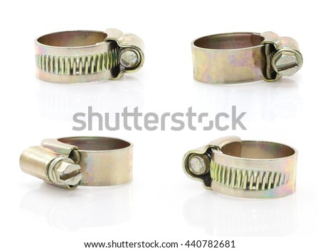 Set new metal hose clamp on white background