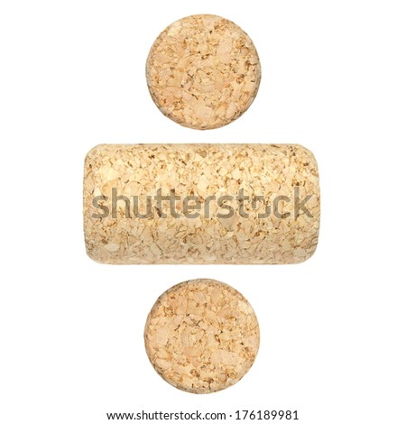 set new wine corks isolated on white background  - stock photo