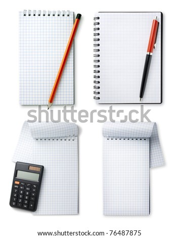 set notebook and pencil, pen and calculator on white background - stock photo