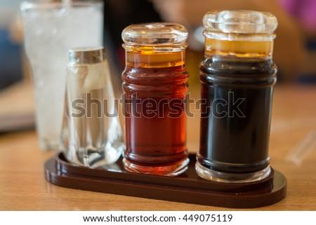 Set o? sauce bottles , Japanese food - stock photo