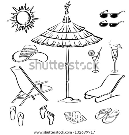 Set Objects Represent Summer Exotic And A Beach Black Contour On White Background