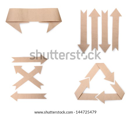 Set of a arrows from old paper isolated on a white background
