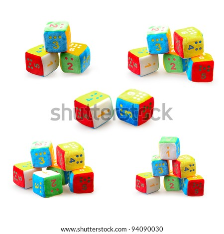set of a Baby Number Blocks isolated on a white background - stock photo