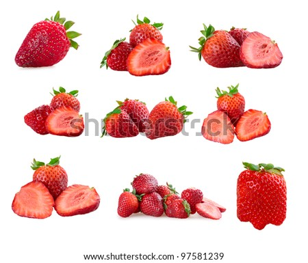 Set of a fresh strawberries isolated on a white background - stock photo
