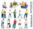 set of a kids photos on white background - stock photo