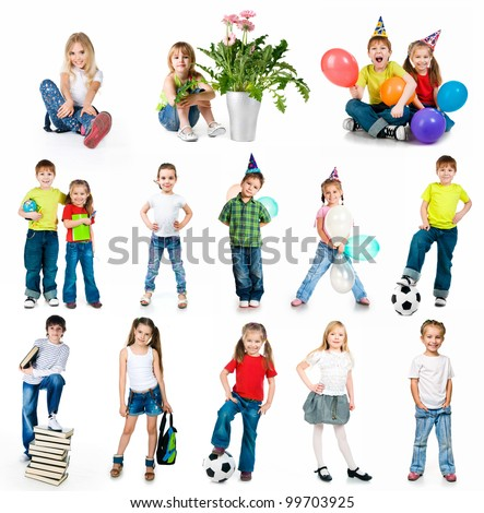 set of a kids photos on white background