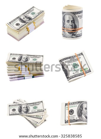 Set of a pack of dollars isolated on a white background