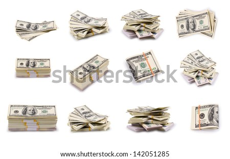 Set of a packs of dollars with a rubber band isolated on a white background