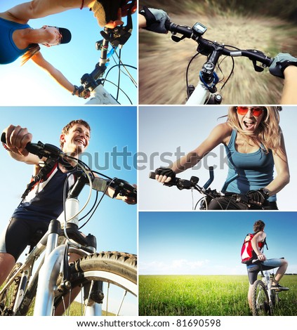 Set of a pictures with bicycle theme - stock photo