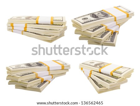 Set of a stack of dollars isolated on a white background - stock photo