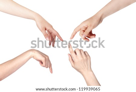 set of a woman's finger pointing  or touching isolated on a white background